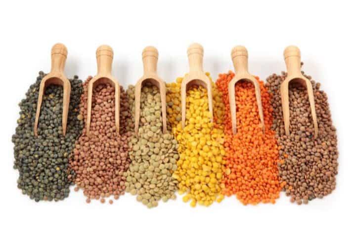 von links nach rechts: Le Puy-Linsen, Tellerlinsen braun, Tellerlinsen grün, gelbe Linsen, rote Linsen, braune Linsen
