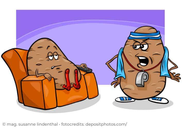Couch-Potato und Sporttrainer
